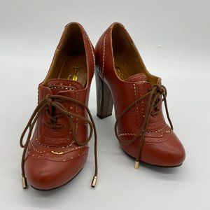FSJ Brown Vintage Chunky Lace Up Heels Pumps Shoes